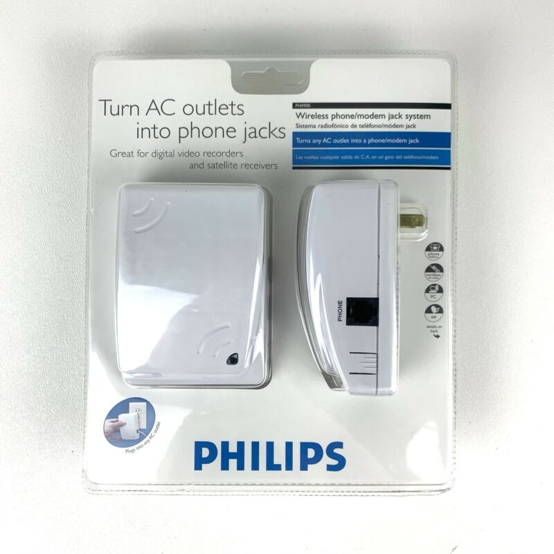Philips Wireless Phone Modem Jack System Wall Outlet Plug In PH0900 New Sealed