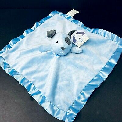 Stepping Stones Blue Puppy Dog Baby Lovey Security Blanket Eye Spot Satin NWT ()