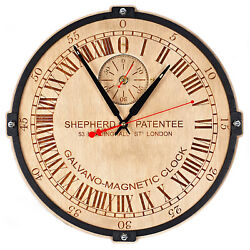 Greenwich  Shepherd Gate unique large 24-hour analogue dial wooden wall clock