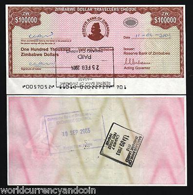 ZIMBABWE 100000 100,000 DOLLARS P20 2003 TRAVELER CHECK RARE MONEY BILL BANKNOTE for sale  Shipping to Canada