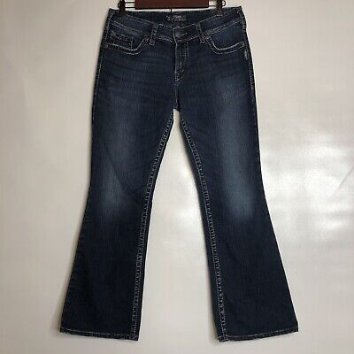 Silver Suki Surplus Jeans Size 32x30 Bootcut Flap Pocket Wide Leg Stretch EUC Flap Pocket Wide Leg Jeans