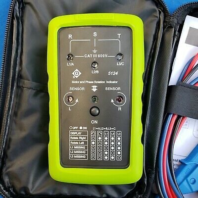 GREENLEE 5124 Phase Sequence Motor Meter - in pouch w/leads & manual - used