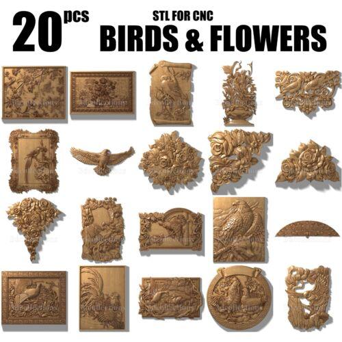 3d stl model cnc router artcam aspire 20 birds flowers panno basrelief