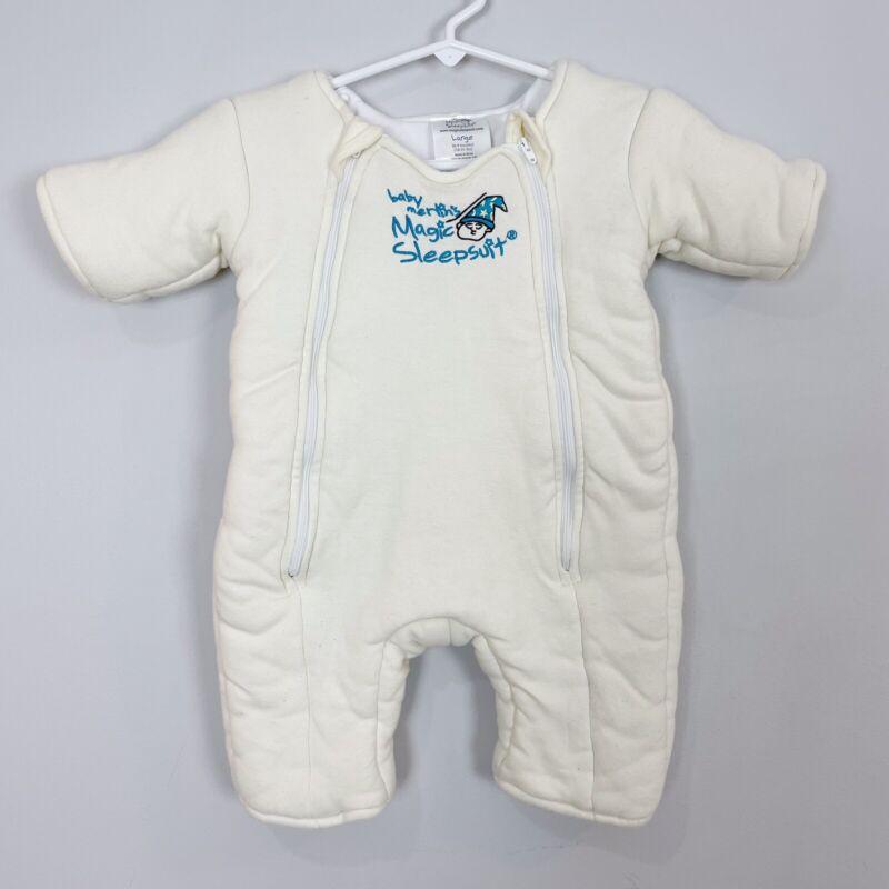 MERLINS MAGIC SLEEPSUIT Baby LARGE (6-9 Month) Ivory Swaddle Transition