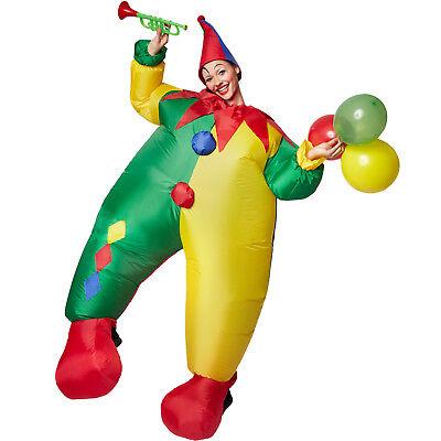 Selbstaufblasbares Unisex Kostüm Clown aufblasbar BlowUp Fasching Karneval + Hut