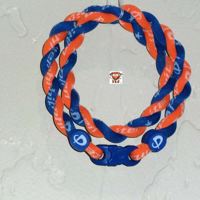 Phiten Tornado Necklace: Royal Blue with Orange Custom New