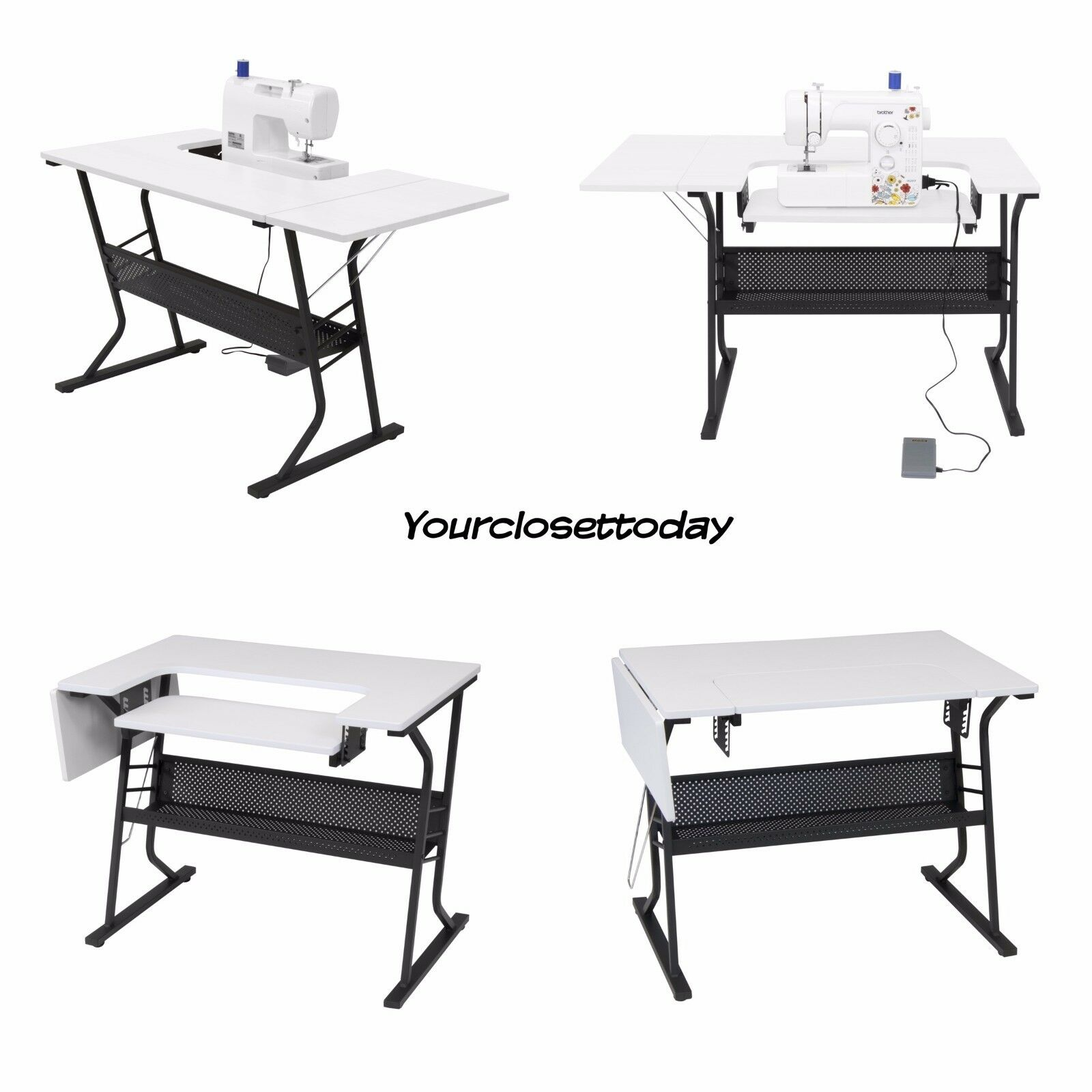 NEW White Sewing Machine Craft Table Folding Computer Desk