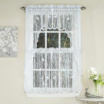 Swag Lace Valance - Knit Lace Bird Motif Kitchen Window Curtain Tiers, Swags or Valance White
