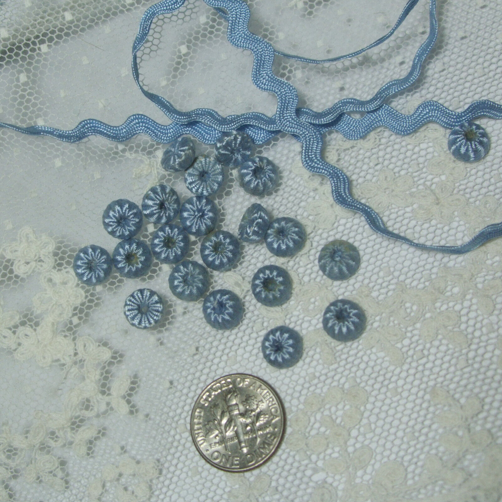 """Tiny antique vtg doll dress size buttons blue passementerie balls bobbles 1/4"""""""