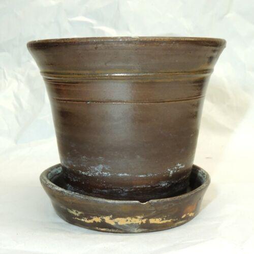 Antique 19th Century Stoneware FLOWER POT Attached Tray, Albany Slip Glaze