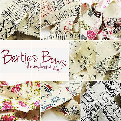 Bertie's Bows Raw Edge Printed 50mm Burlap Ribbon Vintage Wedding Multi Discount](Discount Ribbon)