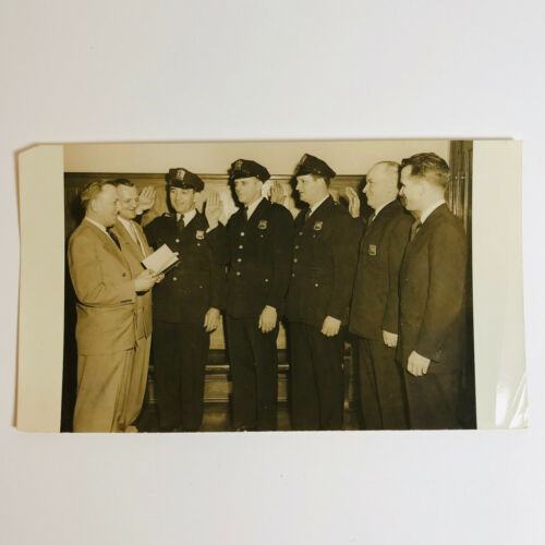 1953 Hamilton Township Police Lieutenant Swearing In New Jersey VTG Photograph