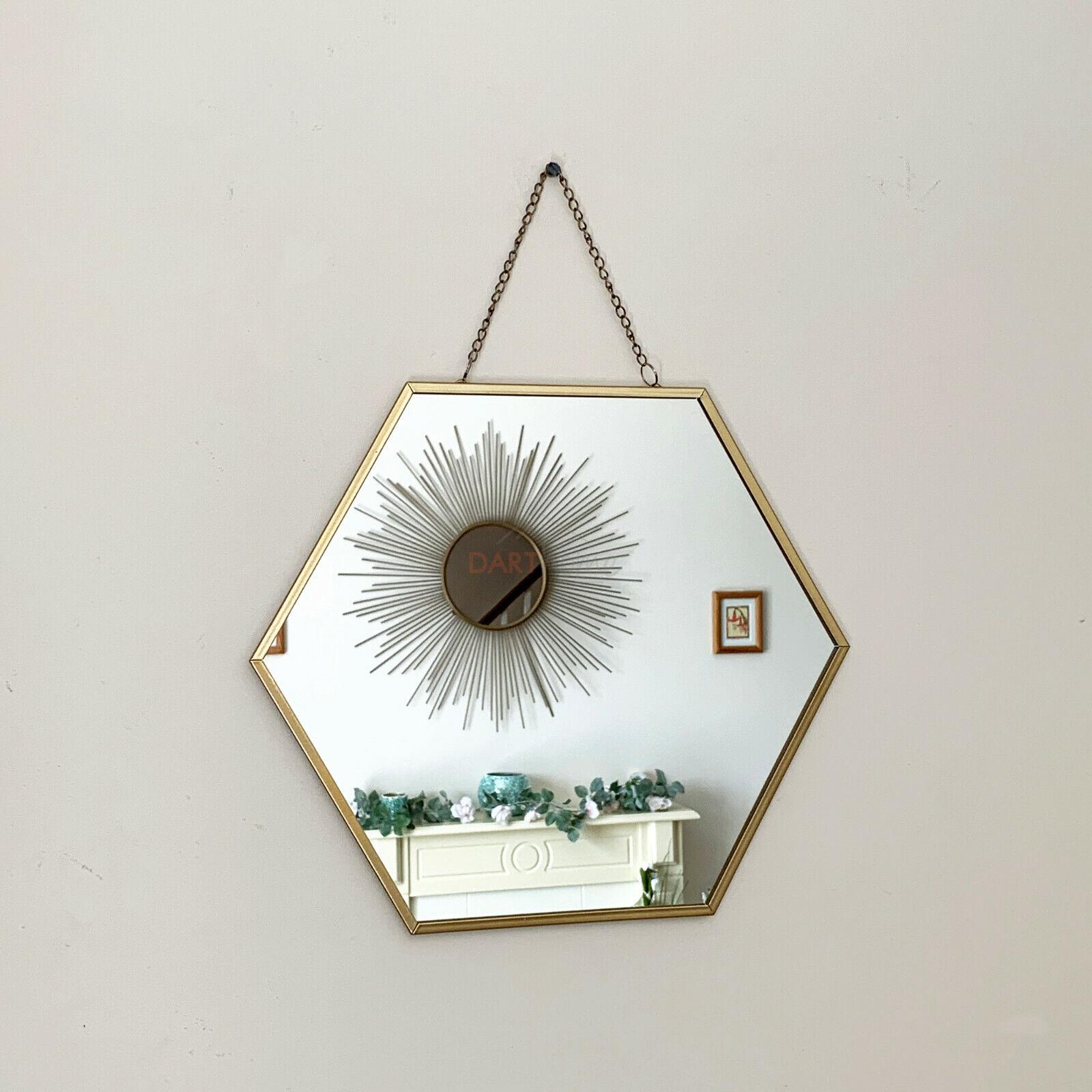 mirror - Vintage Hexagonal Chain Hanging Gold Bathroom Shaving Glass Wall Decor Mirror
