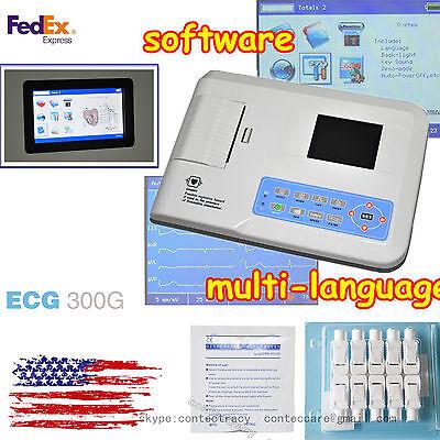 Us Stock3 Channel 12 Lead Ecgekg Machineelectrocardiogram Machinew Printer