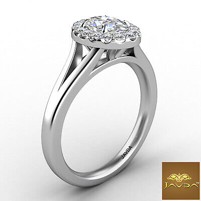Halo Split Shank Oval Diamond Engagement French Pave Set Ring GIA F VVS1 0.70Ct 2