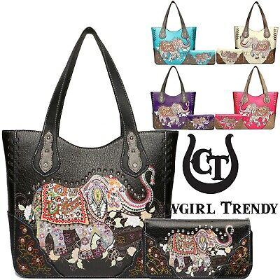 Elephant Western Style Concealed Carry Purse Handbag Women Shoulder Bag / - Western Style Purse