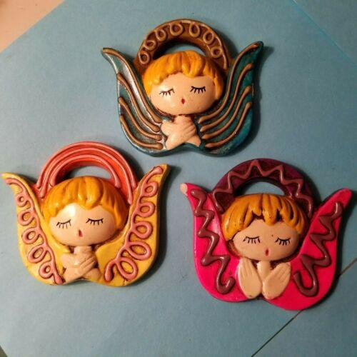 "3 VTG MCM PAPER MACHE  ANGEL WALL HANGINGS - PRAYING ANGELS - 3""x3½"""