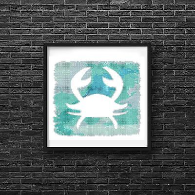 Crab Beach Art Green Blue Watercolor Counted Cross Stitch Pattern
