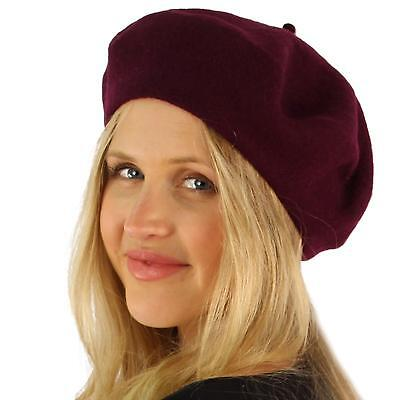Classic Winter 100% Wool Warm French Art Basque Beret Tam Beanie Hat Cap Purple