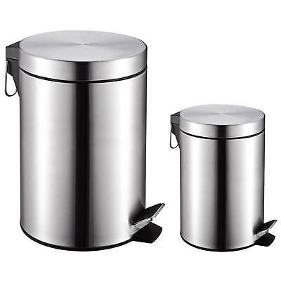 Royal Cuisine 12L + 3L Stainless Steel Round Pedal Waste Bin Set + Inner Buckets ()
