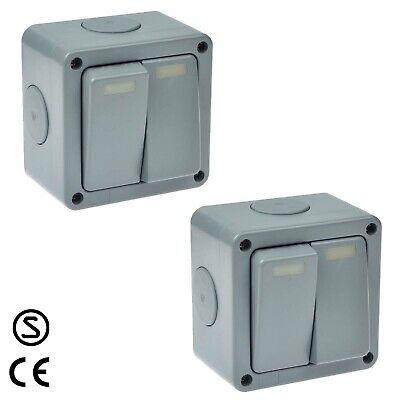2 Pk External Grey Ip66 Weatherproof 2g Outdoor Electrical Light Switch Box 10a