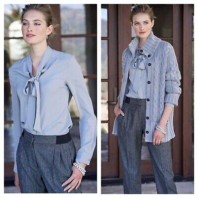 NEW Iris von Arnim Women's Size 12 Anthracite Odetta Herringbone Wool Pants NWT