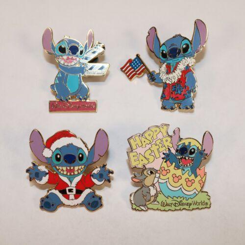 (LOT OF 4 DISNEY LILO & STITCH PINS) -- Walt Disney World, Happy Easter, Santa