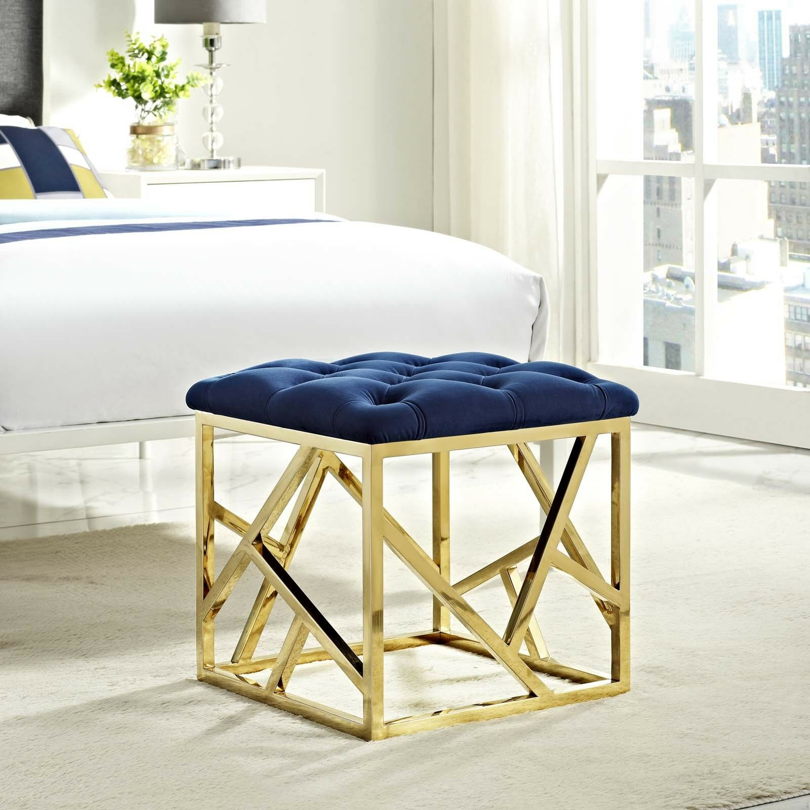 Fine Details About Contemporary Modern Tufted Velvet Geometric Metal Ottoman Bench In Gold Navy Pdpeps Interior Chair Design Pdpepsorg
