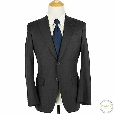 LNWOT CURRENT Canali 1934 Grey Wool Plaid Static Flat Front Italy 2Btn Suit 38R