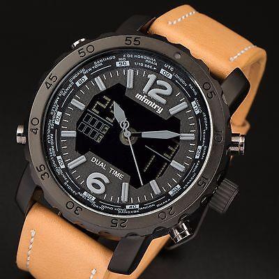 INFANTRY Herren Quarzuhr Digital Armbanduhr Uhr Chronograph Sportuhr Fliegeruhr