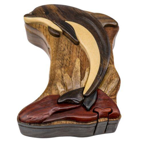 Wood Intarsia Dolphin Puzzle Box - Secret Trinket Box Inside! Handcrafted New