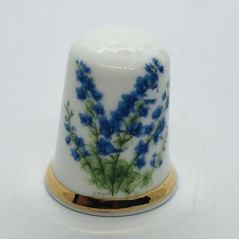 Vtg Floral Finsbury Fine Bone China Thimble w/ Bluebonnet Flowers