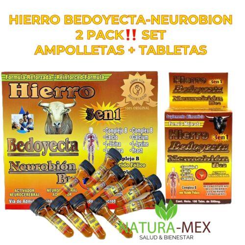 HIERRO-NEUROBION B12-BEDOYECTA 2 PACK‼️  10 AMPOLLETAS 15ml + 100 TABLETAS