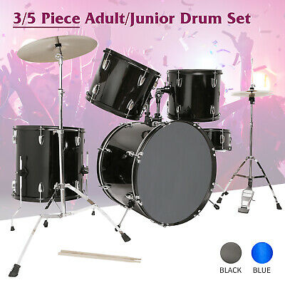 3/5 Piece Complete Full Size Drum Set w/Cymbals,Stool & Stick Adult/Junior Kit