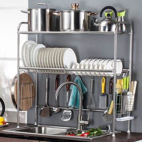 Multipurpose 2 Tier Over the Sink Dish Cutlery Cup Drainer R