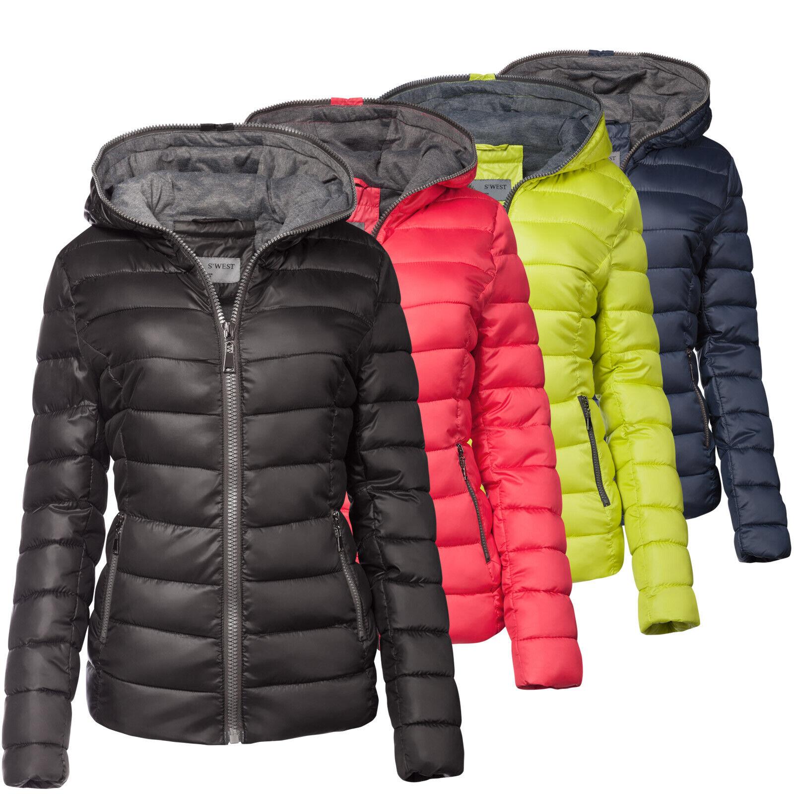 Damen Steppjacke Daunen Optik Ski Jacke Kurz Mantel Parka Kapuze Top Farben