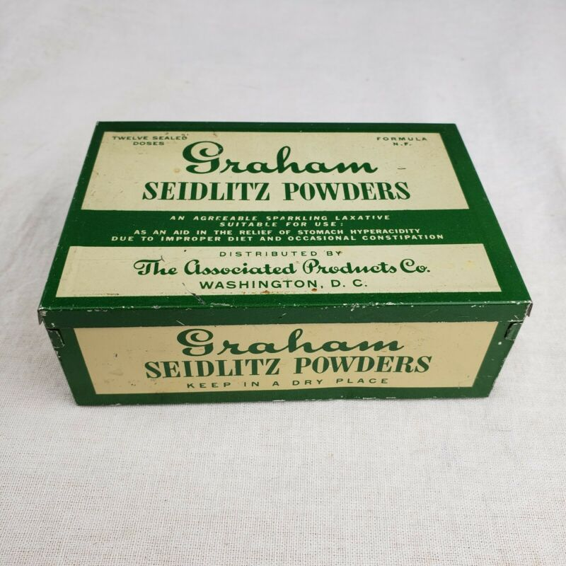Rare Antique Vintage Graham Seidlitz Powders Medicine Laxative Old Tin Box Ad