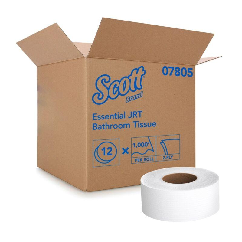 Scott Essential JRT 2-Ply Bathroom Toilet Tissue Paper Rolls White 12 Ct 07805