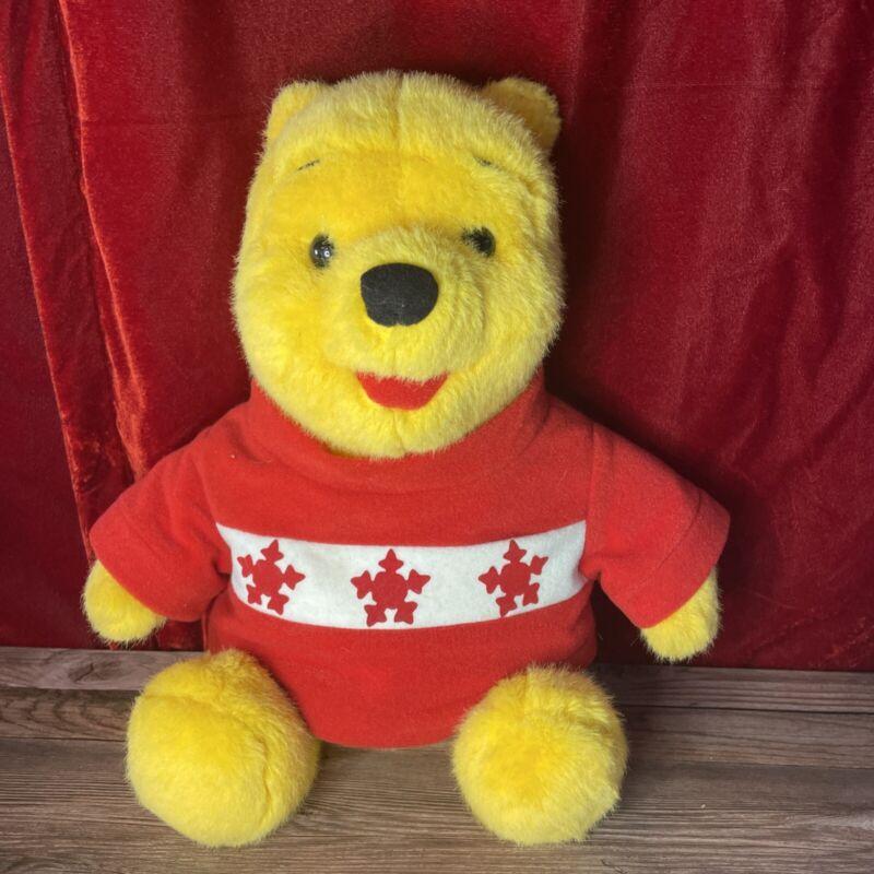"Vintage Disney Authentic Winnie The Pooh 15"" Christmas Holiday Winter Plush 1995"