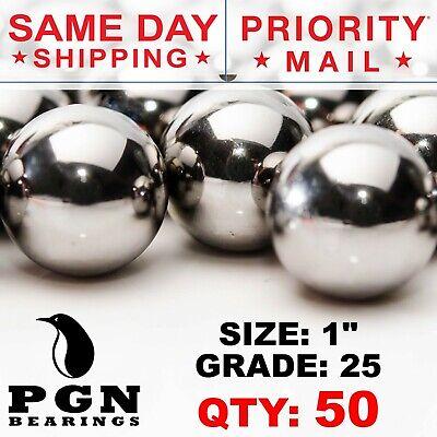 50 Qty - 1 Inch G25 Precision Chrome Steel Bearing Balls Chromium Aisi 52100