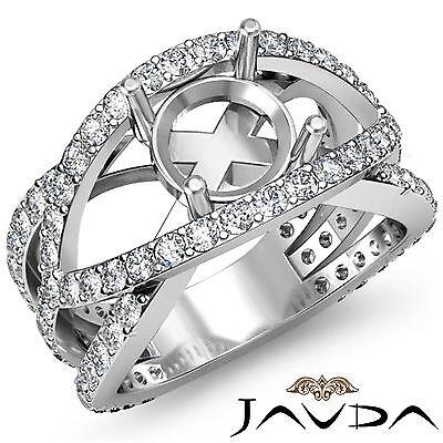 Diamond Engagement Designer Ring Round Semi Mount Halo Pave Set 14k W Gold 1.2Ct