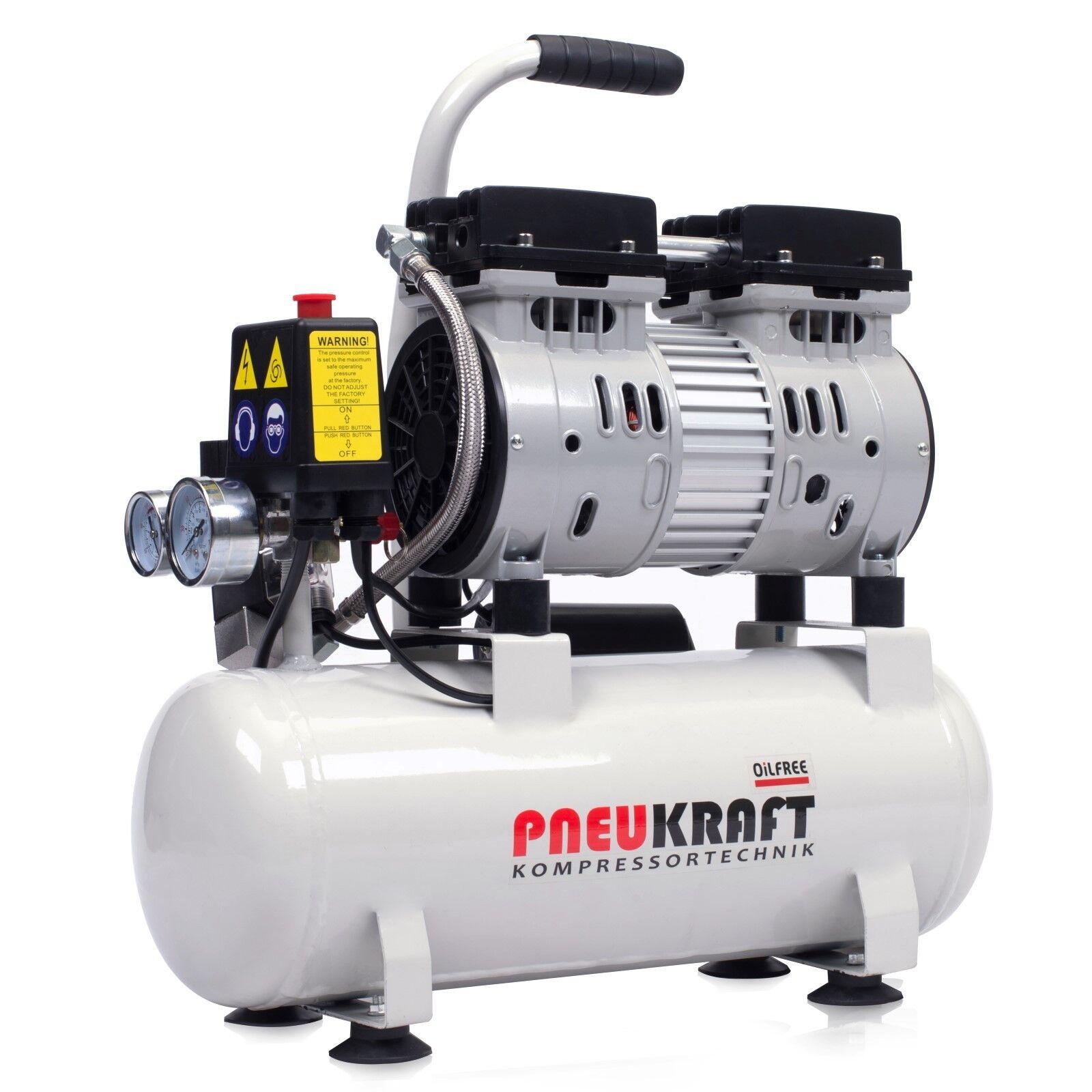 Kompressor ölfrei 9L Pneukraft Luftkompressor Leise Silent Druckluft Kessel 450W
