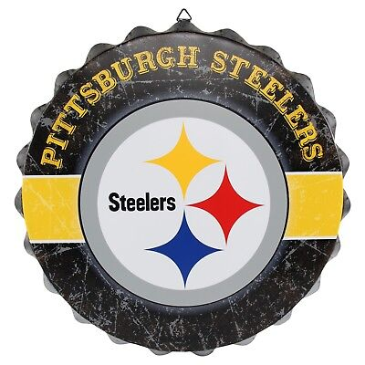 Pittsburgh Steelers Bottle Cap Wall Sign Distressed Room Bar Decor Metal 13.5
