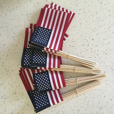 -40- 4X6 INCH COTTON US MADE AMERICAN HAND HELD STICK FLAGS