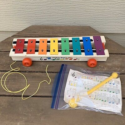 Vintage Fisher-Price Pull-A-Tune #870 Wood & Metal Xylophone Pull Toy 64-78