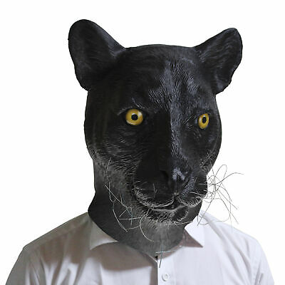 Realistic Latex Halloween Mask (Black Panther Movie Realistic adult animal mask latex Halloween Costumes)
