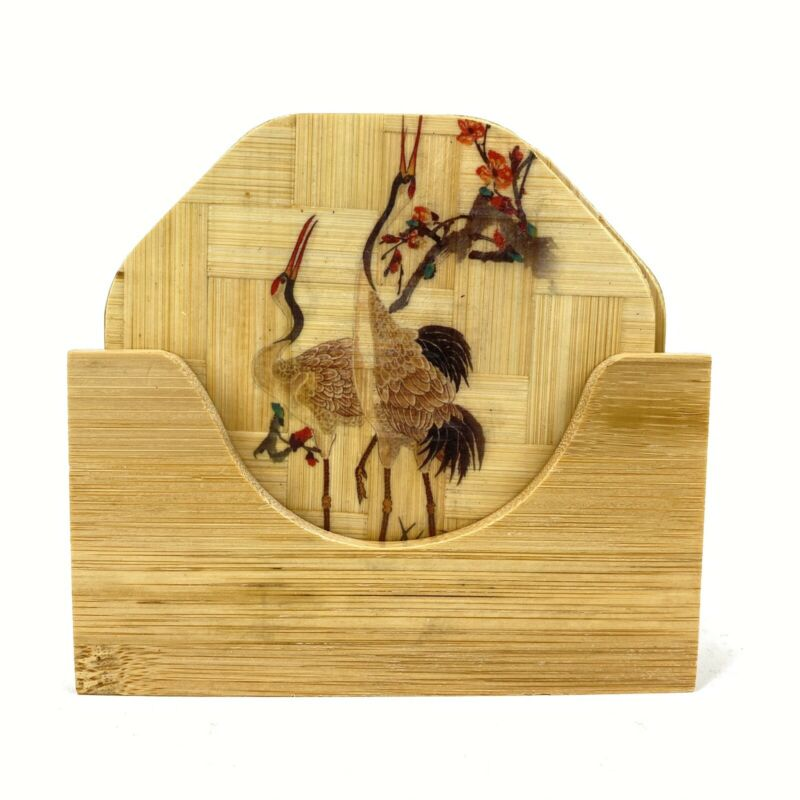 Vintage Bamboo Drink Coaster Set with Caddy Japanese Birds