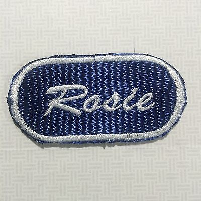 Embroidered Sew on Name Patch Rosie White Thread on Navy Blue - Rosie Name Patch