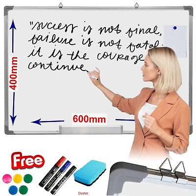 Magnetic White board Dry Wipe Drawing Notice Board 600 x 400mm Dry Erase WB UK
