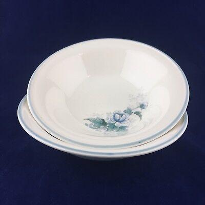 "2 NORITAKE Keltocraft Peonytime Ireland 9100 Blue Flowers Soup Cereal 7""  Bowls"